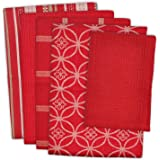 "DII 100% Cotton, Ultra Absorbent, Oversized, Washing, Drying, Basic Everyday Kitchen Dishtowel 18 x 28"" & Dishcloth 13 x 13"", Set of 5 - Red"