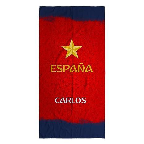 Lolapix - Toalla Selección Española personalizada de algodón España Roja. Mundial de Fútbol Rusia 2018