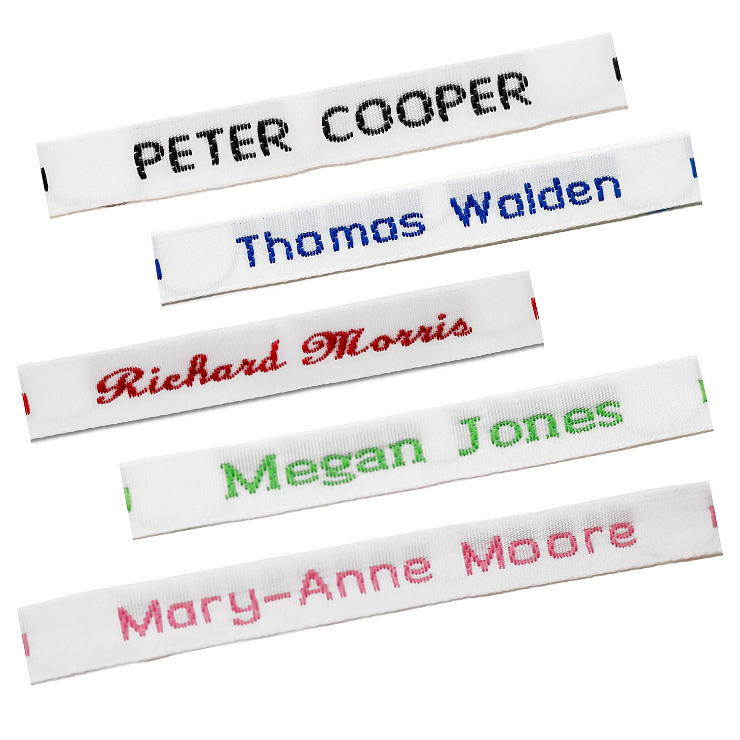 20 Iron On Name Labels School Uniform Clothes Garment Tags  PERSONALISED PRINTED