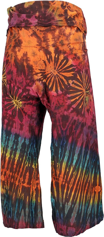 Size:One Size Wickelhose Yogahose Guru-Shop Thai Fischerhose aus Baumwolle Herren//Damen Fischerhosen /& Yogahosen Alternative Bekleidung Blau