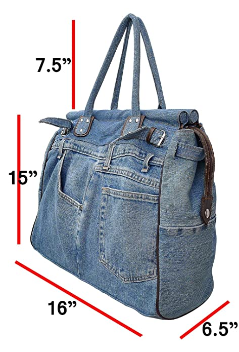 Amazon.com: Bijoux de Ja X-Large Azul Denim doble asa ...