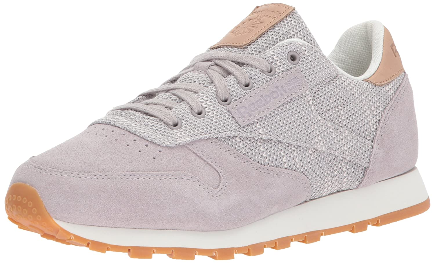 Reebok Women's CL Leather Ebk Sneaker B074V1JGKS 7.5 B(M) US|Whisper Grey/Chalk/Lilac