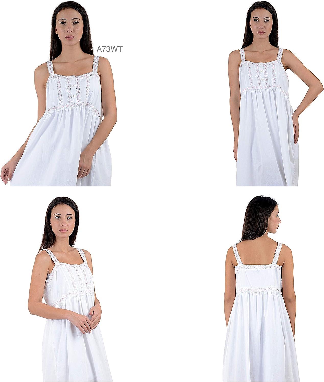 Cotton Lane Cotone Bianco Camicia da Notte di Stile Vittoriano Vintage