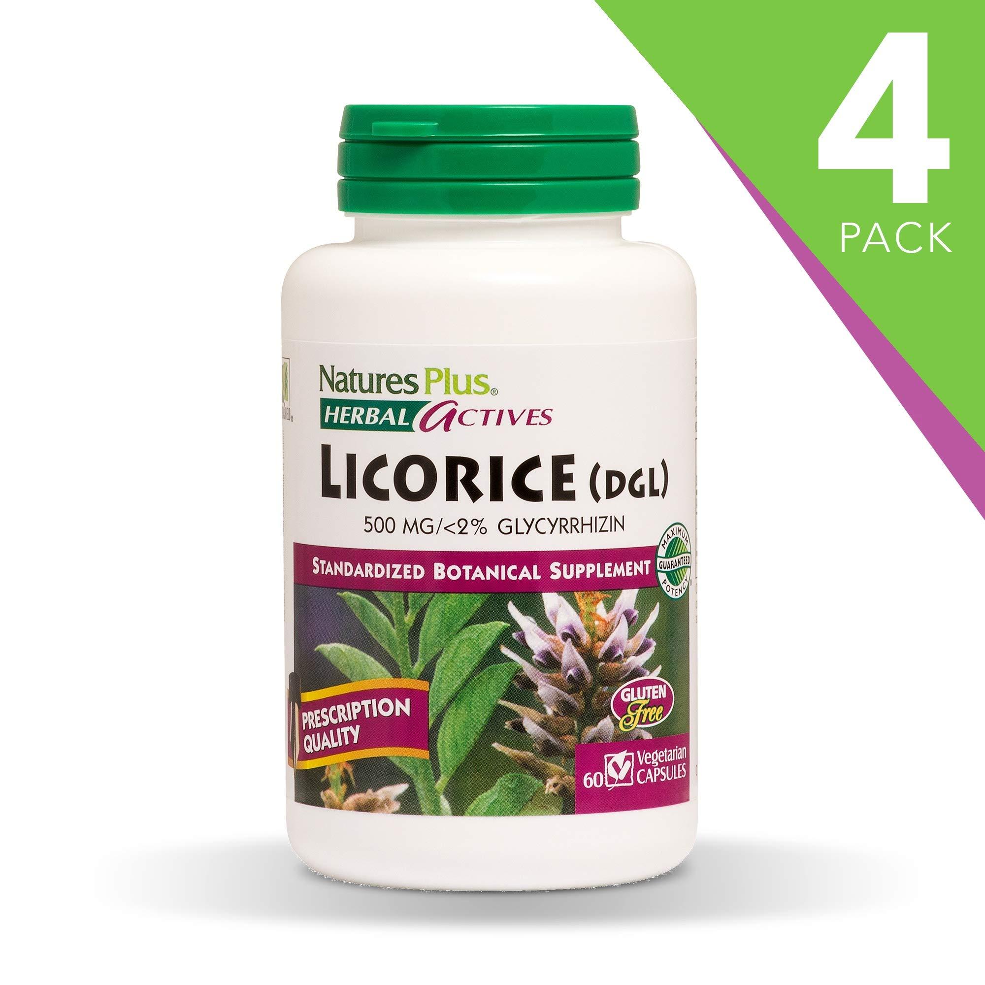 NaturesPlus Herbal Actives Licorice (DGL) Capsules (4 Pack) - 500 mg, 60 Vegan Capsules - Maximum Potency, Anti-Inflammatory, Stomach Reliever - Vegetarian, Gluten-Free - 60 Servings