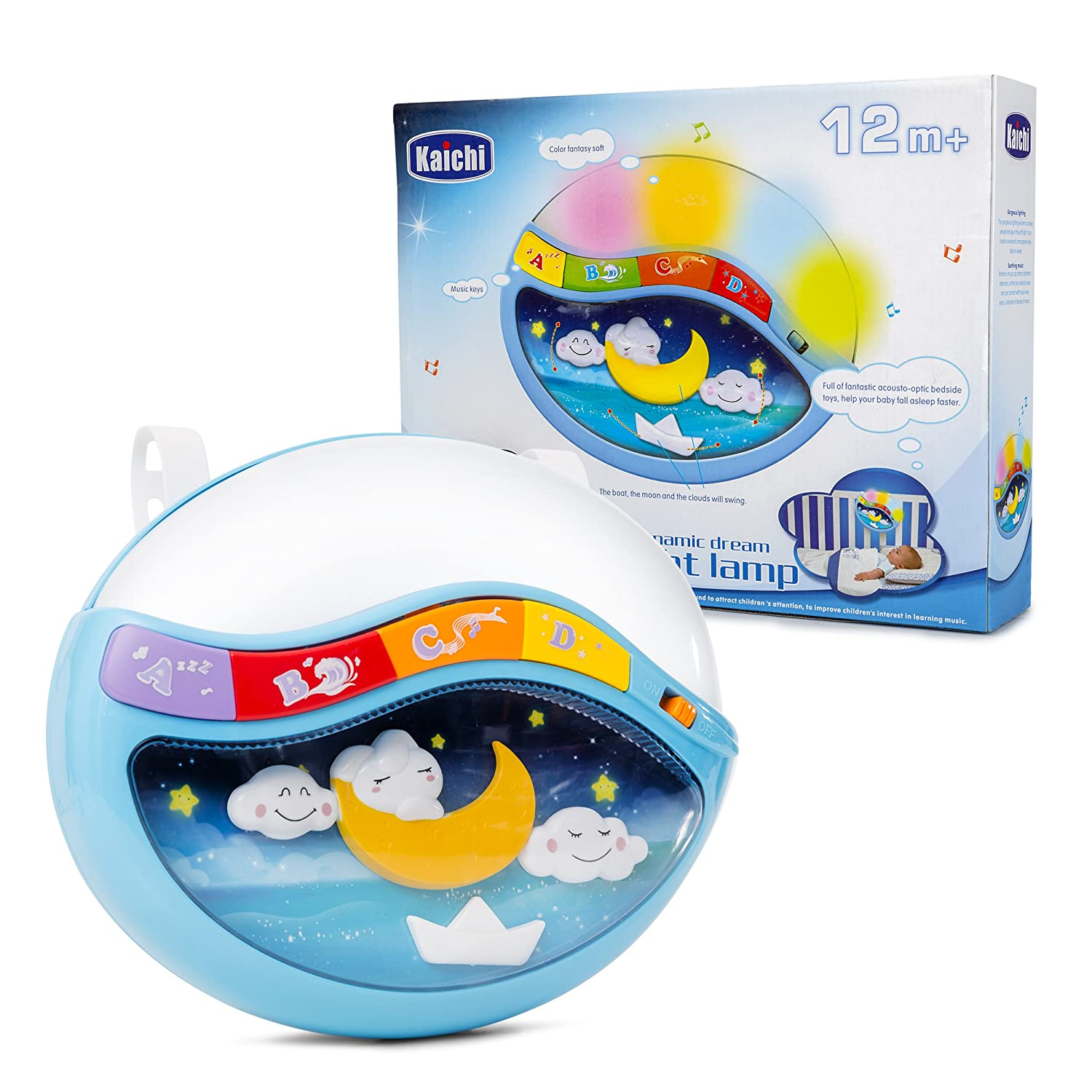 Play Baby Toys Magic Sleep Through The Night Soother Baby Crib Clip In Night Lamp With Multiple Melodies To Put Your Baby To Sleep, In Blue KidsVoiceToys