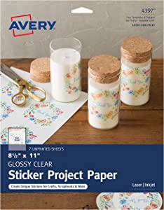 """Avery Printable Sticker Paper for DIY Crafts, Glossy Clear, 8.5"""" x 11"""", Laser & Inkjet Printers, 7 Sheets (4397)"""