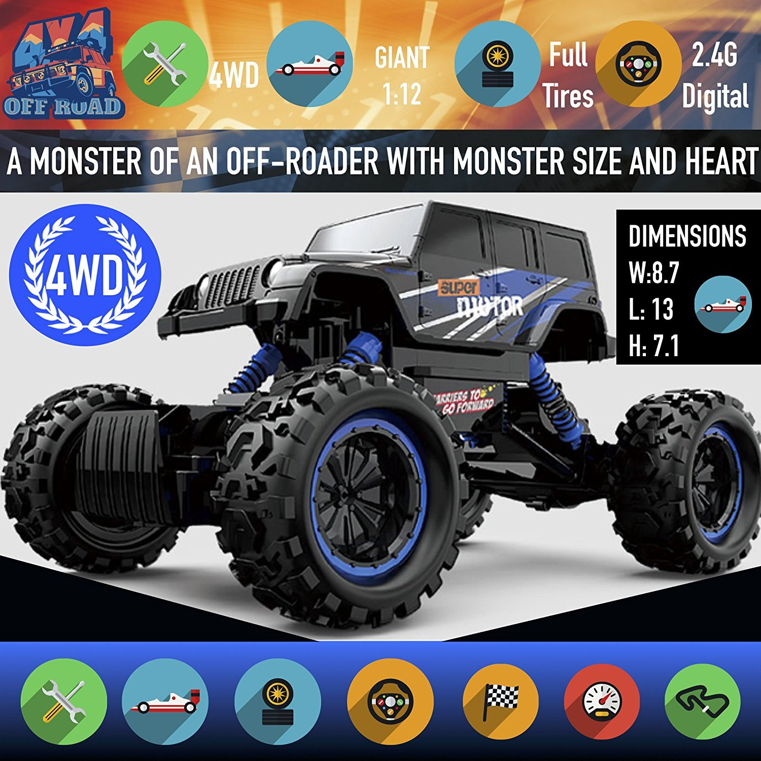 Remote Control Monster Truck with Full-Time 4-Wheel Drive