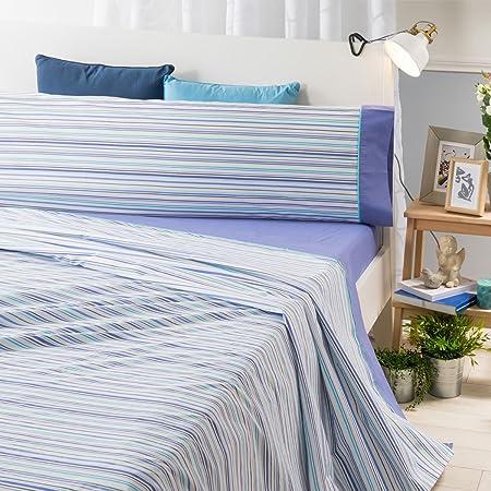 Sancarlos- Juego de sábanas RIGA, Algodón-poliéster, Color Azul, Cama de 90: Amazon.es: Hogar