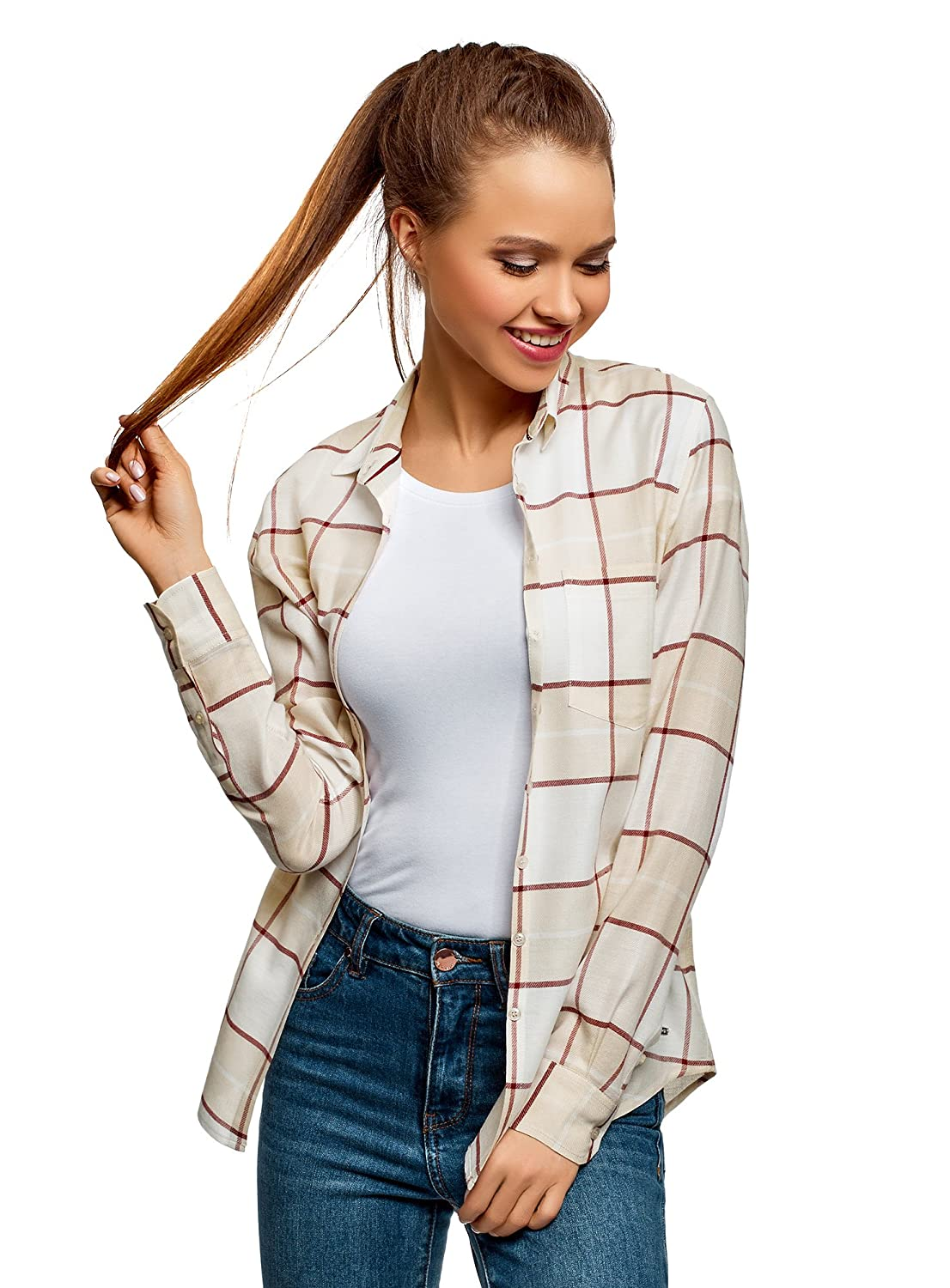 oodji Collection Femme Blouse Coupe Ample avec Une Poche Poitrine RIFICZECH s.r.o. 21411114