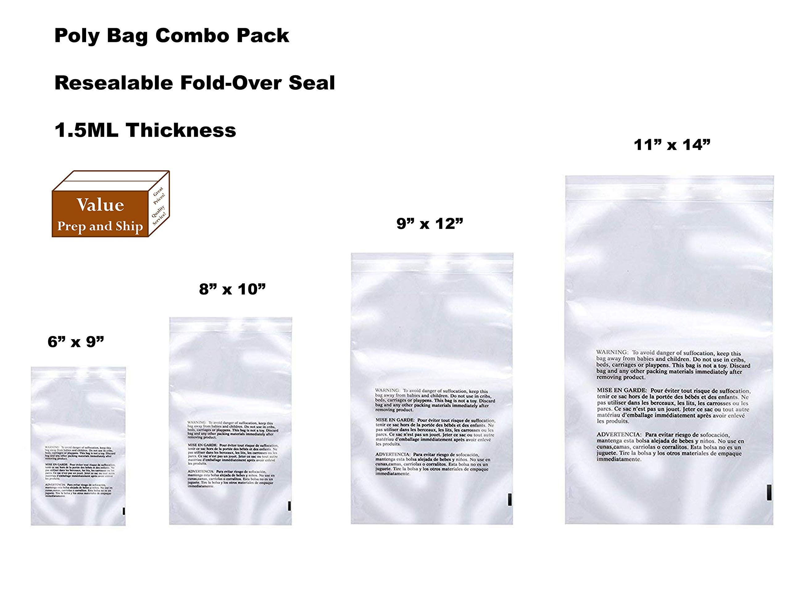 Clear Poly Bag Combo Set, 400 Total Poly Bags, Self Sealing with Suffocation Warning,100 Per Size, 1.5ml Thickness