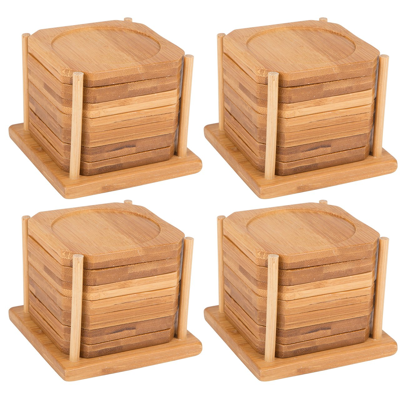 3.5'' Square 100% Natural Bamboo Coaster – Set of 6 with Holder Trademark Innovations (4 Sets of 6 Coasters Each)