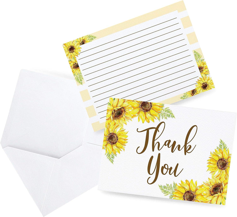 해바라기 감사 카드 아기 결혼식 신부 샤워 생일 침례 어떤 경우 50 감사 카드와 봉투에 대한 좋은