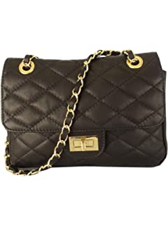 18bf514c3b8d32 B00EWZHE2QBlack Quilted Italian Calf Leather Handbag or Shoulder Bag(Size:  Small)