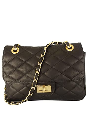 Black Quilted Italian Calf Leather Handbag or Shoulder Bag: Amazon ...
