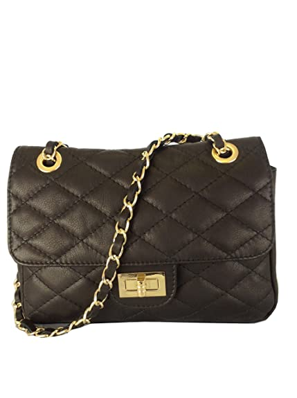 3104ed891884 Black Quilted Italian Calf Leather Handbag or Shoulder Bag(Size  Small)   Amazon.co.uk  Shoes   Bags