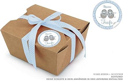 10 marrón bio Cajas + 24 pegatinas Mi Bautismo en azul con bebé ...