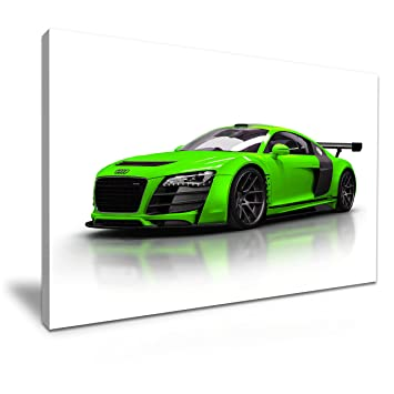 Grun Audi R8 Super Auto Leinwand Wand Kunstdruck Bild 76 X 50 Cm