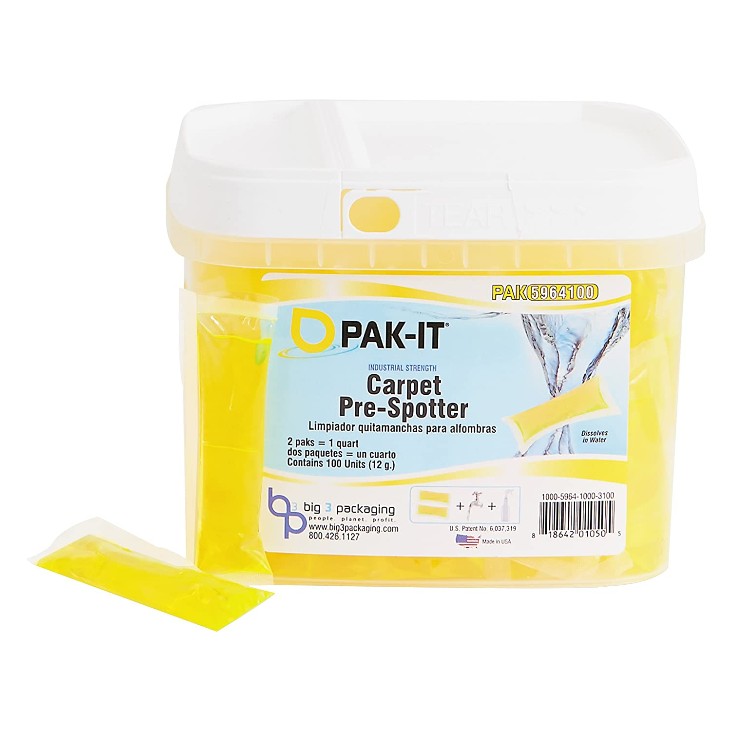 Amazon.com: PAK-IT 596420003400 Carpet Pre-Spotter, Citrus Scent, 100 PAK-ITs/Tub: Industrial & Scientific