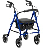 Days Lightweight Folding Four Wheel Rollator Walker with Padded Seat, Lockable Brakes, Ergonomic Handles, and Carry Bag, Limited Mobility Aid, Blue, Small, (Eligible for VAT relief in the UK)