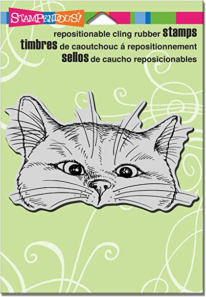 Grey STAMPENDOUS CRP282 Nosey Cat Cling Stamp 6.5 by 4.5