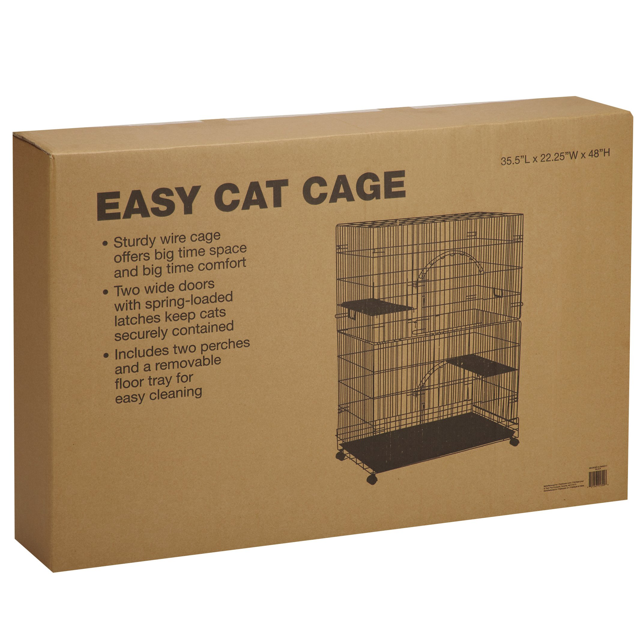 ProSelect Easy Cat Cage, Economical and Customizable, Durable  Wire and Plastic - Black 35½''L x 22¼''W x 48''H
