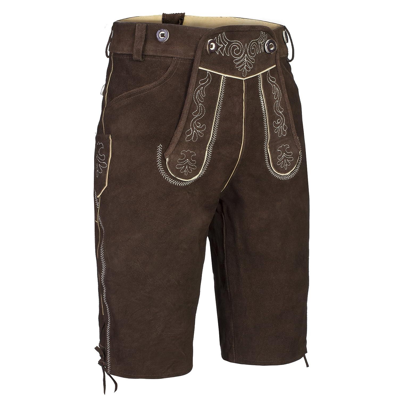 Gaudi-Leathers Herren Trachten Lederhose Shorts kurz mit Träger in verschiedenen Farben Gaudi Leathers