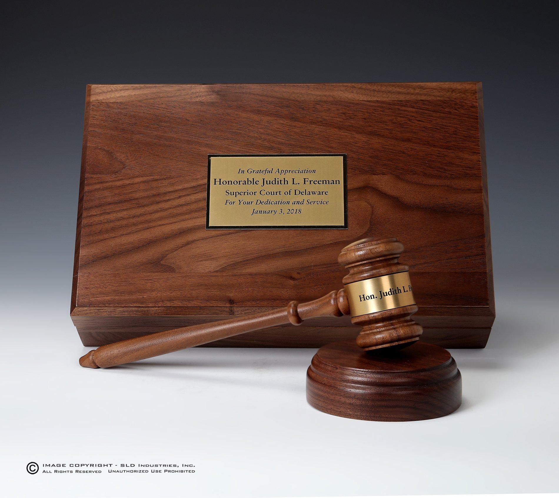 Personalized Engraved Gavel Set SOLID WALNUT Gift Box, 10'' Gavel and 4'' Sounding Block, Lawyer Gift, Judge Gift, Mayor Gift