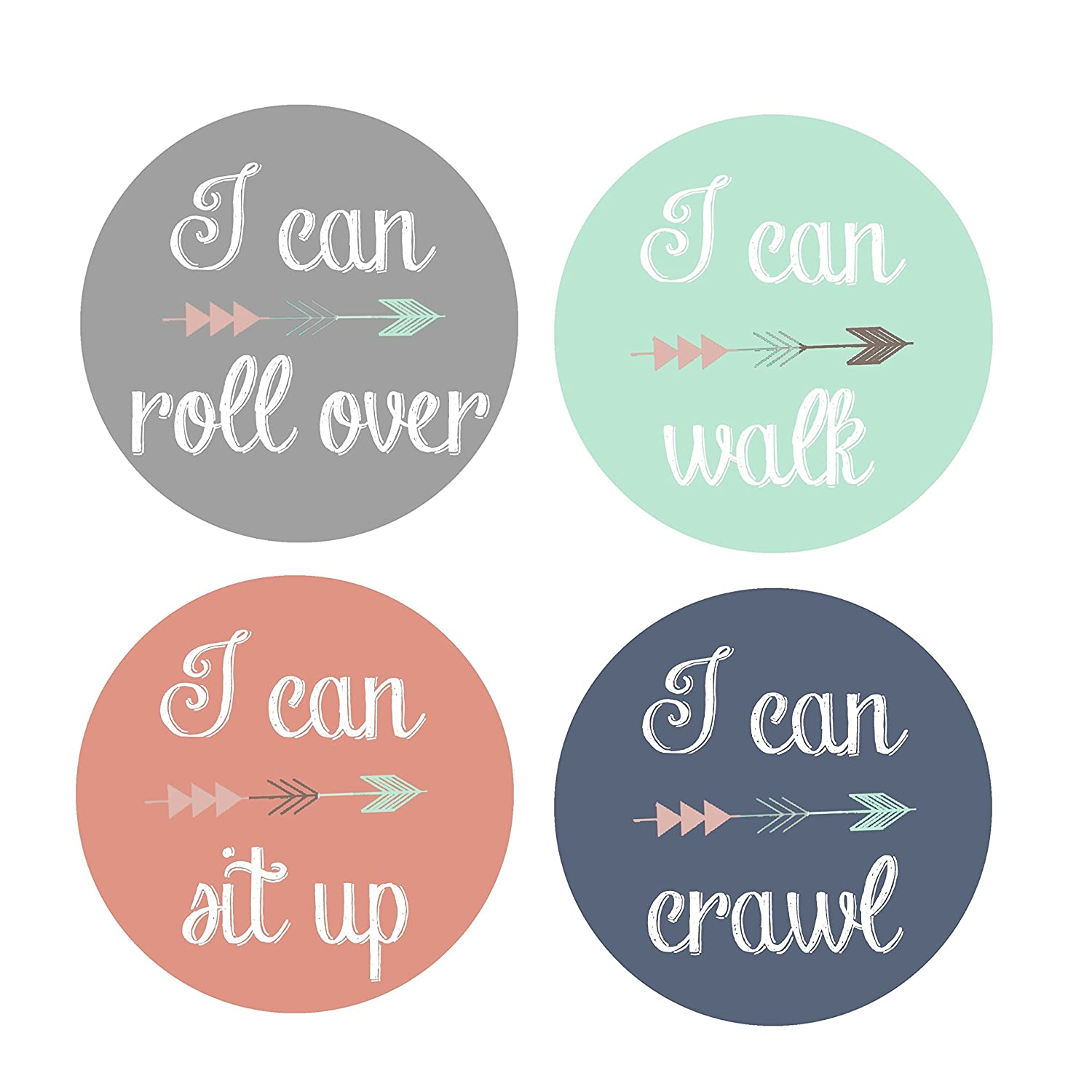 Baby Milestone Stickers - I Can Walk Sit Up Crawl - Baby Stickers - Tribal Arrow