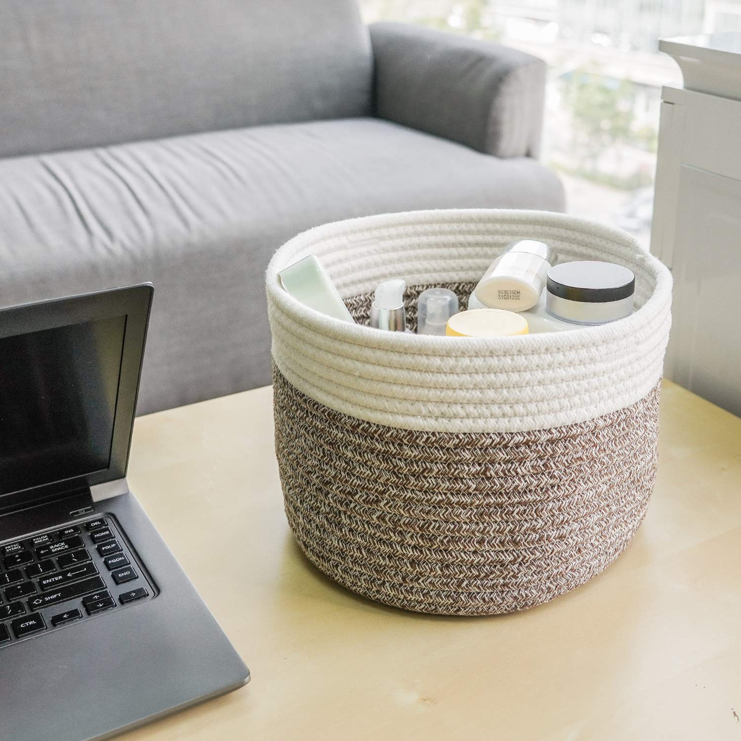 9.4Dx7.1H Cotton Rope Basket Woven Basket for Keys Sunglasses Toy Basket Wallet by Front Door Small Storage Bin for Remote Controls on Nightstand Fruit Basket in Kitchen INDRESSME Small Basket