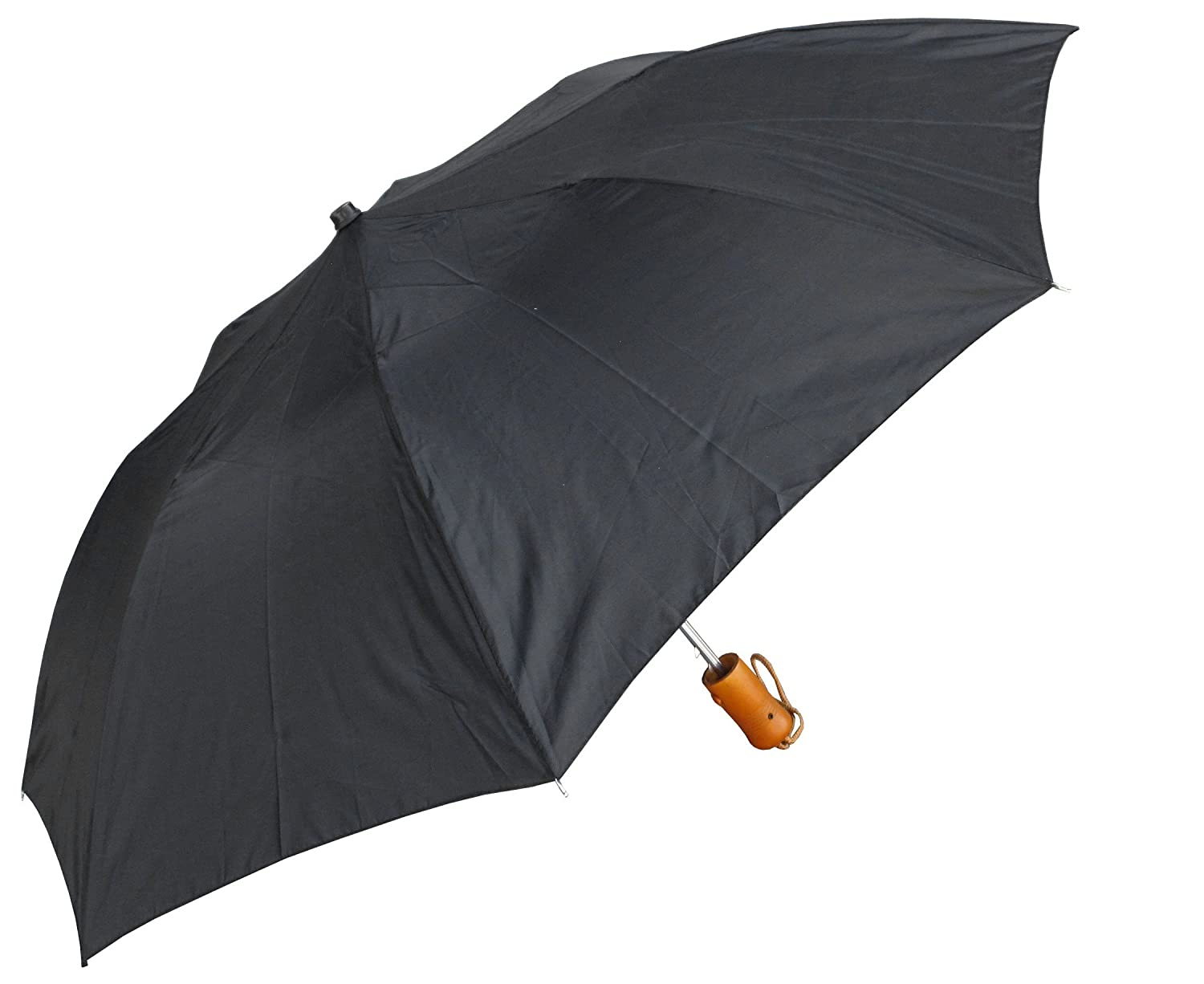 RainStoppers W003 Auto Open Collapsible Umbrella with Rubberized Plastic Handle, 42-Inch (Black) W001-w-black