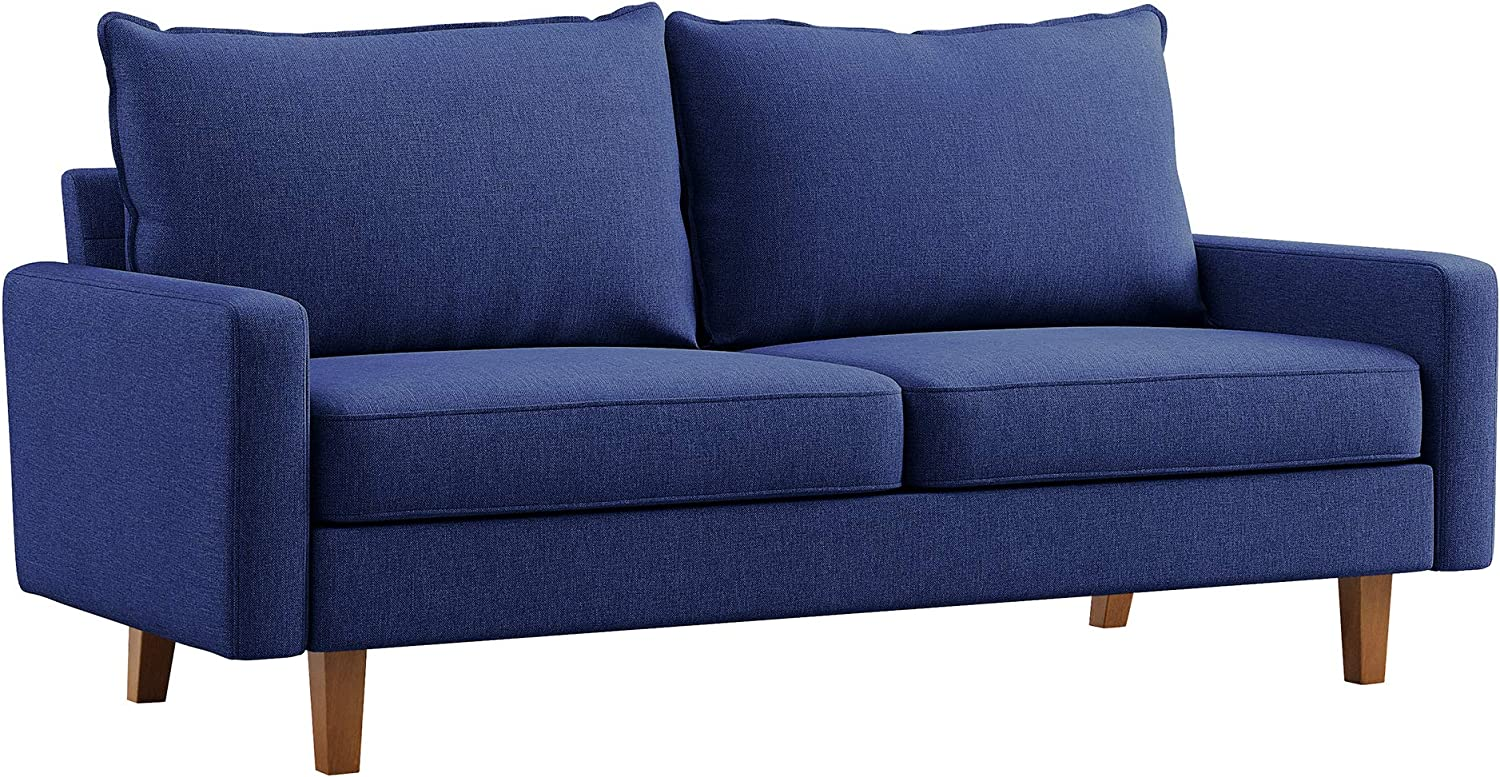 VASAGLE Comfortable Sofa, Couch with Solid Wood Frame and Breathable Linen Fabric, for Guest Room, Small Apartment, 70.1 x 33.3 x 32.7 Inches, Blue
