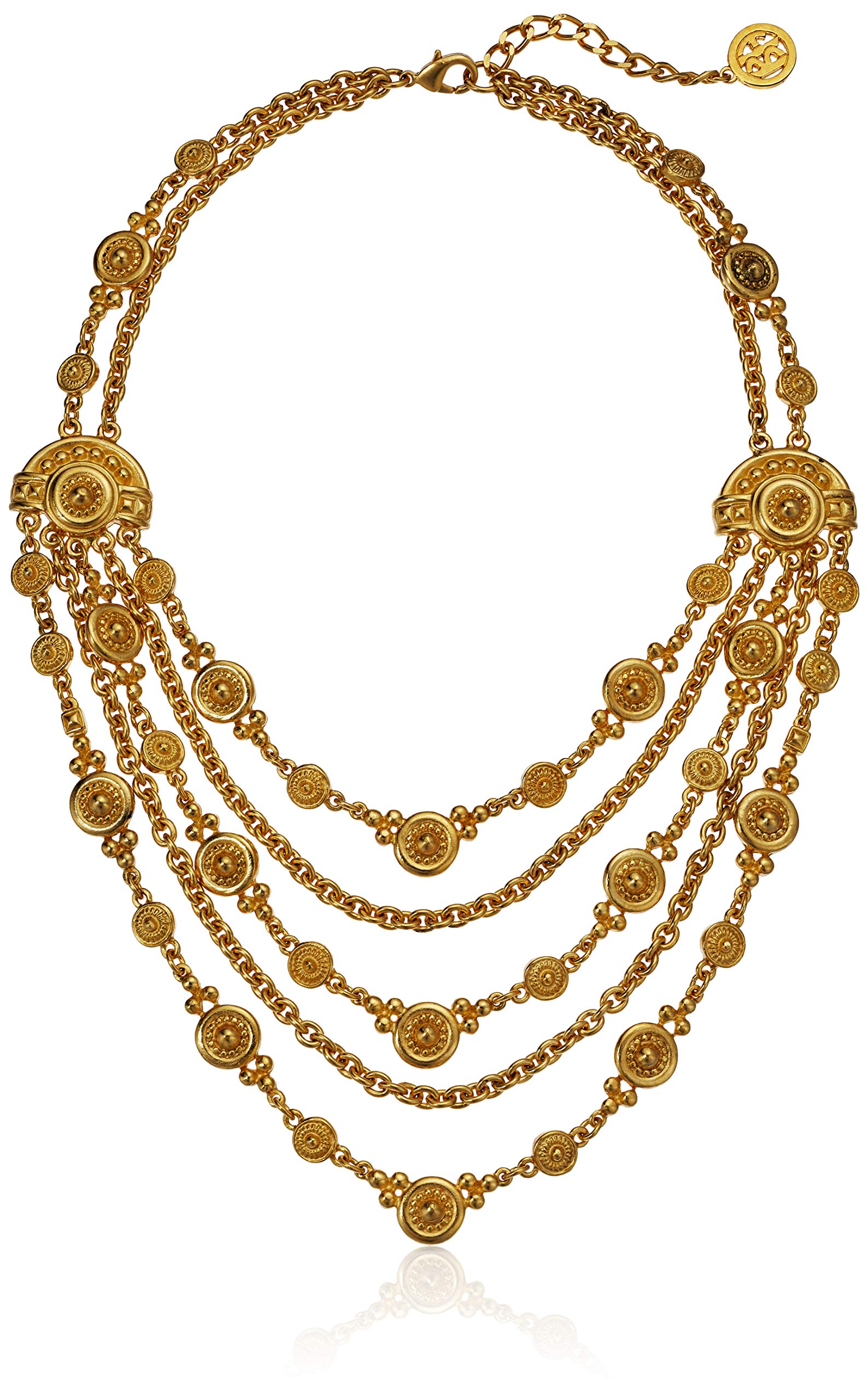 Ben-Amun Jewelry Helen of Troy Gold Multi Layer Chain Necklace, 15'' long by Ben-Amun Jewelry