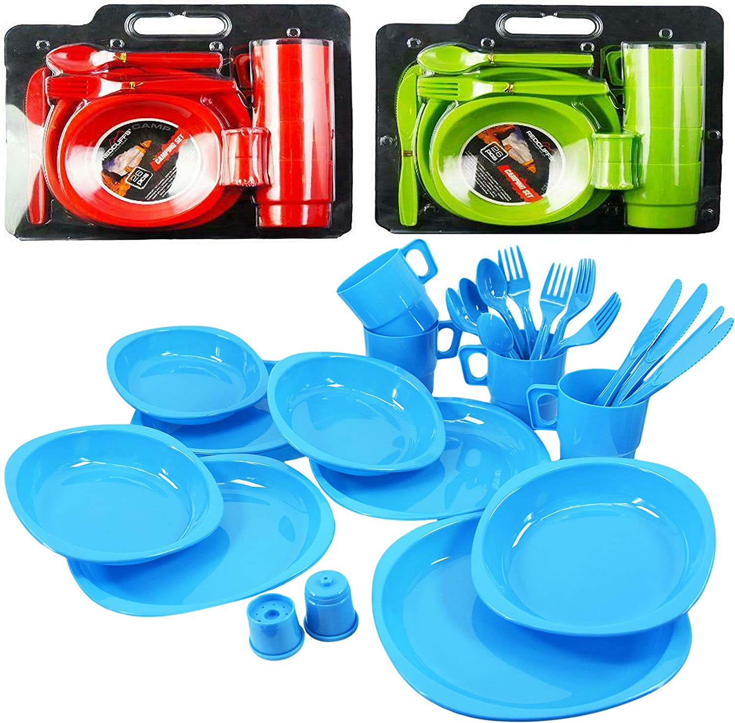 cups bowls and cutlery any colour 1 set of 26 Piece Picnic set of 4 x Plates