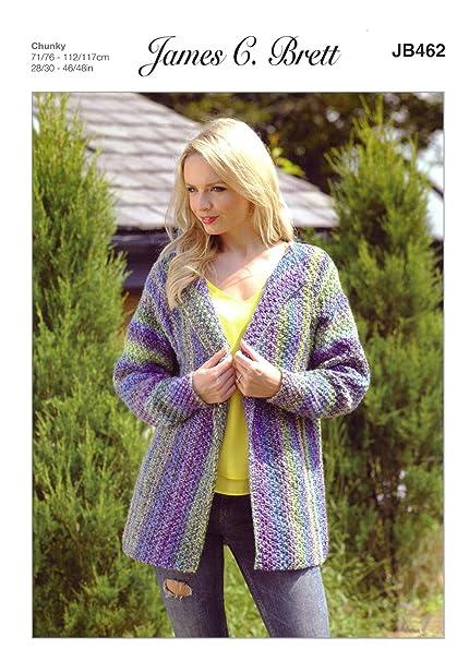 c0729de3a9fb James C Brett JB462 Knitting Pattern Womens Jacket in James C Brett Marble  Chunky  Amazon.co.uk  Kitchen   Home