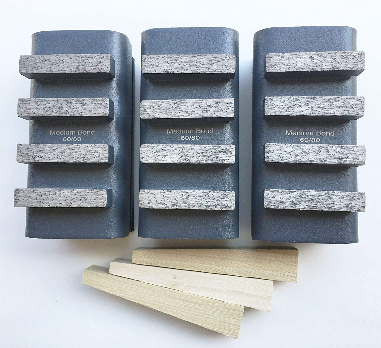 New 3PK Diamond Grinding Blocks for EDCO,STOW/&General Equip Floor Grinders-BEST