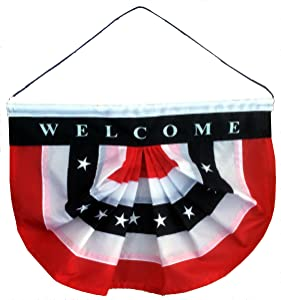 """Patriotic Welcome Sign Front Door - 10"""" x 16"""", Veteran's Day, 4th of July, Porch Decor, Hanging Door Decorations, Rustic, Country, Farmhouse, American Flag Bunting Banner, USA, Memorial Day"""