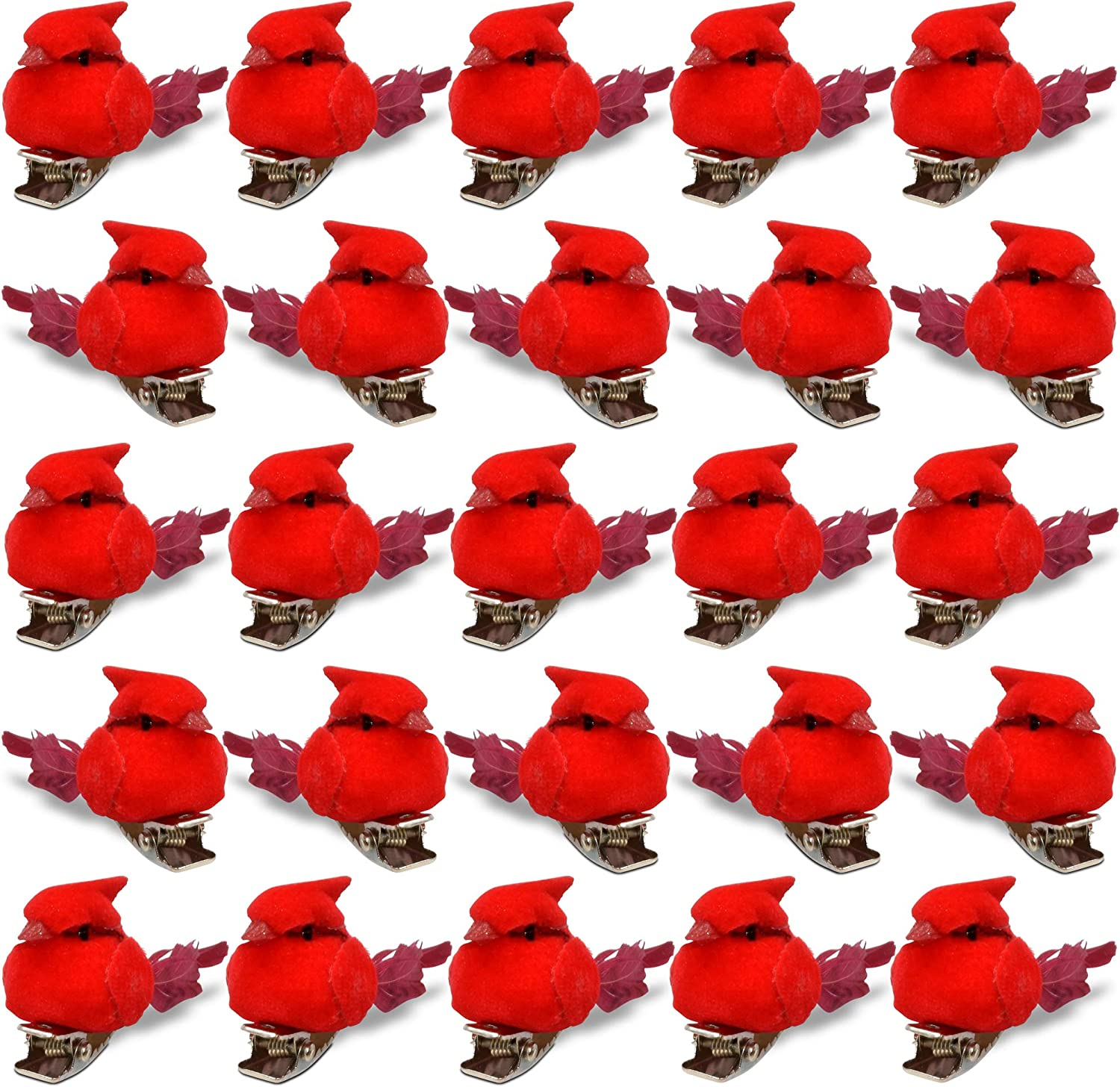Christmas Mini Cardinal Clip on Tree Ornaments Bird Decorations Set of 30 Approx. 1.5 Inch Long Bright Red Velvet & Feathers Wreaths Garland Centerpieces Decoration Crafts by Gift Boutique