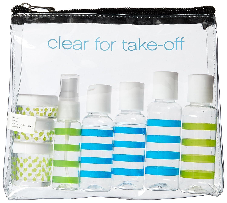 Blue Anchor 12 piece Miamica TSA Compliant Travel Bottles and Toiletry Bag Kit