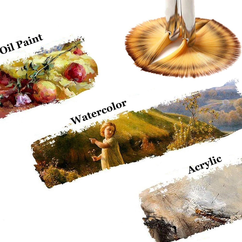 Fuumuui Juego de Pinceles Weasel Wood Brooch Mango de Madera para Pintura de Acuarela acr/ílica y Liner