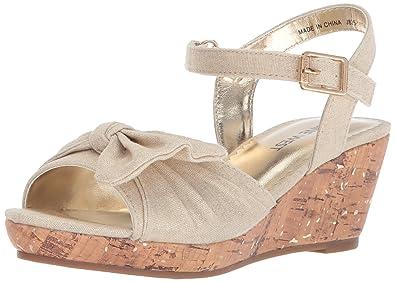 ed76f93f7fe4 Nine West Girls  NATHALIAH Wedge Sandal Gold Metallic Linen 1 Medium US Little  Kid