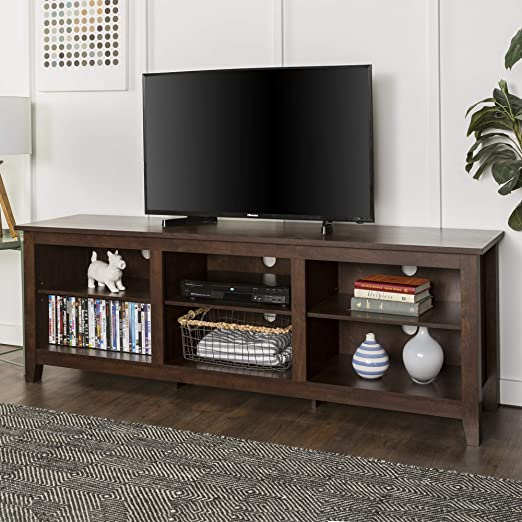 Amazon Com Walker Edison Wood 70 Console Flat Panel Tv S Up To 70 6 Storage Shelves Traditional Brown Furniture Decor