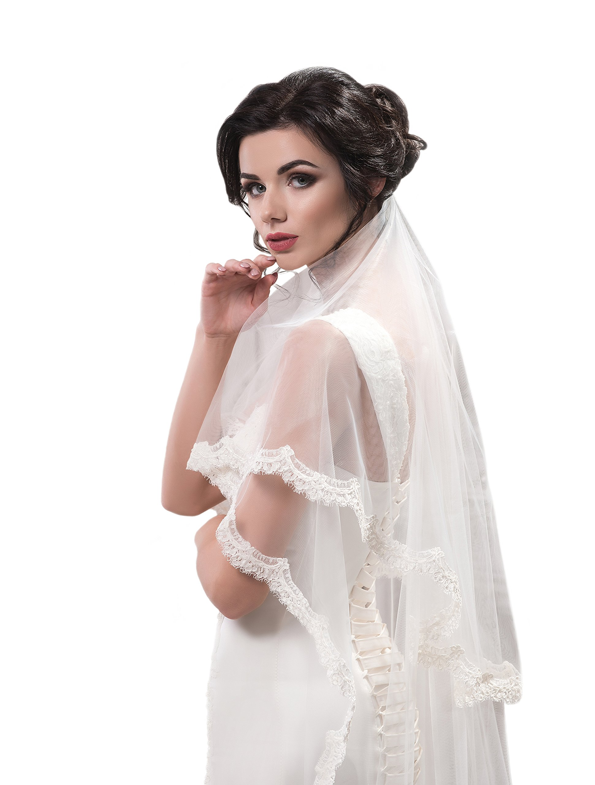 "Bridal Veil Amanda from NYC Bride collection (short 30"", ivory)"