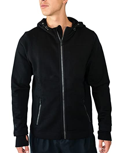 8f535795e Woolx Mens Grizzly Full Zip Merino Wool Hoodie for Extreme Warmth, Black,  Small