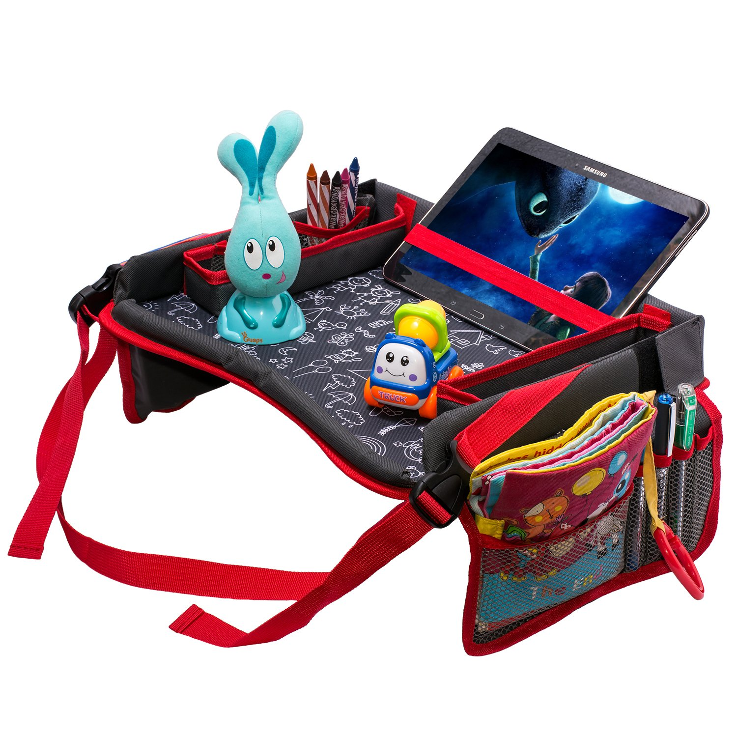 Toddler Car Seat Travel Tray by DMoose (16-Inch-by-12-Inch) – Toy Organizer, Tablet Holder, Reinforced Surface, Sturdy Base &Side Walls, Strong Buckles, Crayon Organizer, Mesh Pockets – Waterproof