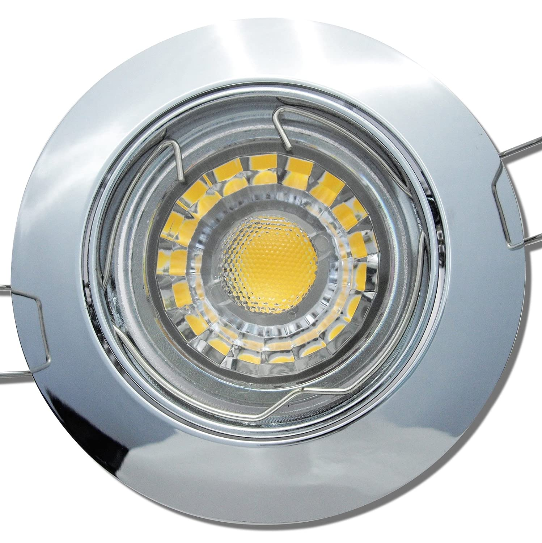 5 Stück MCOB LED Einbauspot Linus 230 Volt 7 Watt Schwenkbar Chrom Neutralweiß