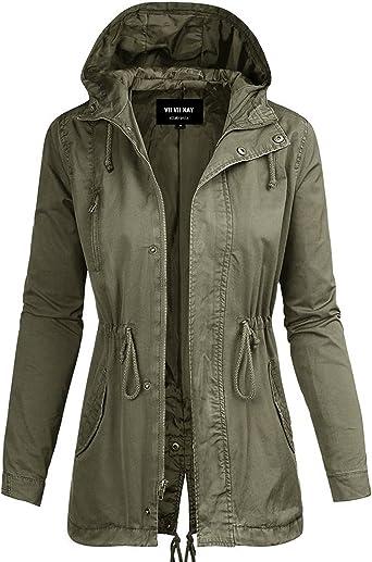 Women  Hoodie Utility Drawstring Oversize Olive Anorak Jacket S M L