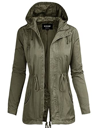 ViiViiKay Womens Cotton Anorak Lightweight Utility Parka Jackets ...