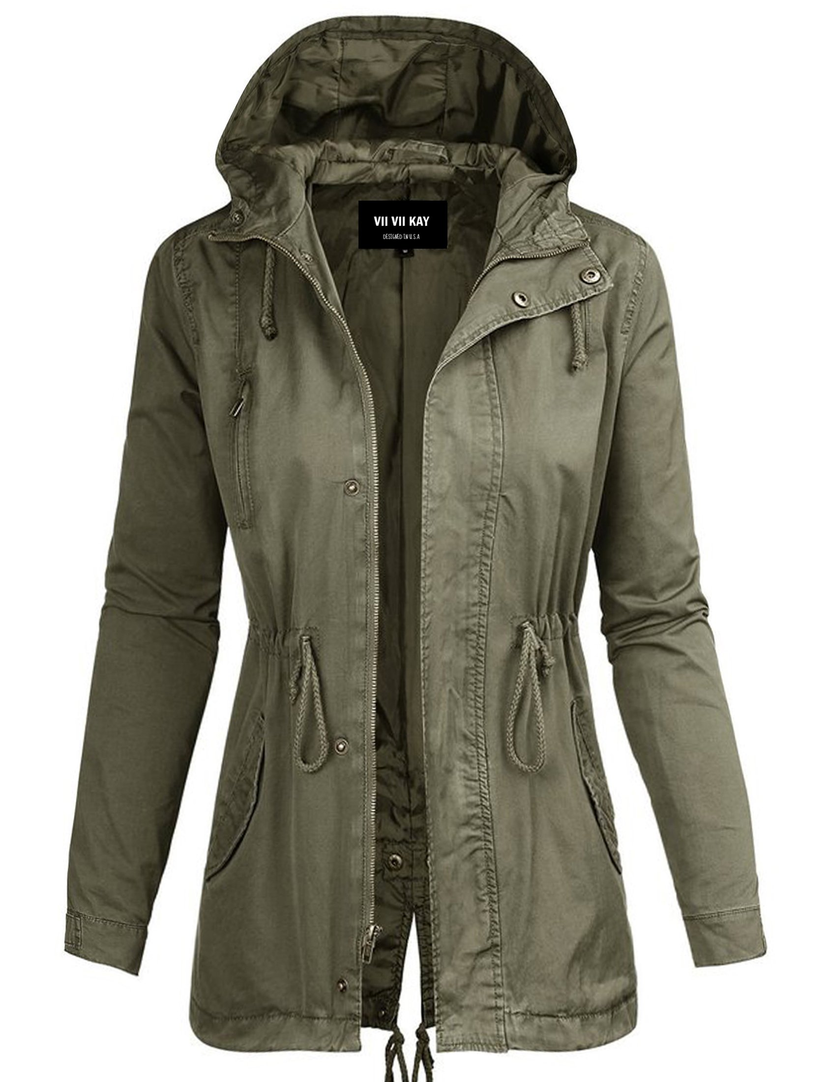 ViiViiKay Womens Cotton Anorak Lightweight Utility Parka Jackets with Drawstring 43J OLIVE L