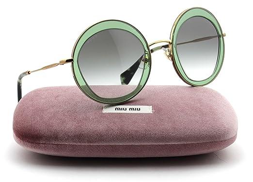 a638ee3d698 Amazon.com  Miu Miu MU 50QS Pentogonal-Shaped Metal Women Sunglasses  (Transparent Pale Green Frame