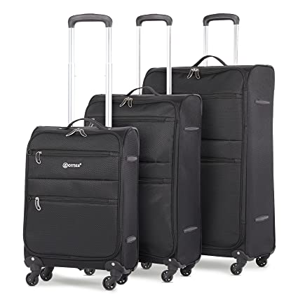 "ab707b129d2f 5 Cities Lightweight 4 Wheel Spinner 3 Piece Travel Trolley Luggage  Suitcase Set, 21"" Cabin + 26"" Medium + 29"" Large (Black)"